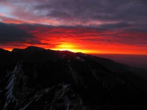 Pogled s Storžiča - Sonce za Krvavcem